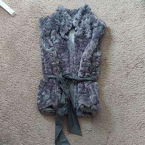 Grey faux fur vest with belt